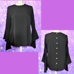 Olivia & Grace Button Back Bell Sleeve Top